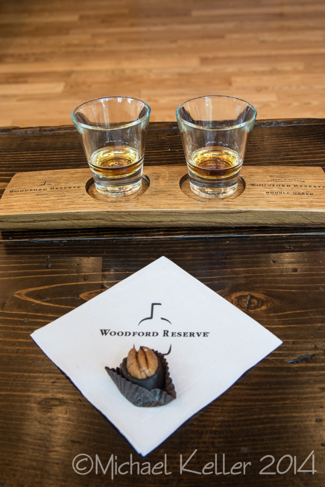 Bourbon tasting. On left is Woodford Reserve, on right is Double Oaked, which gets aged a second time in a fresh barrel.