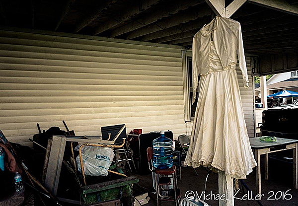 Wedding dress drying outside