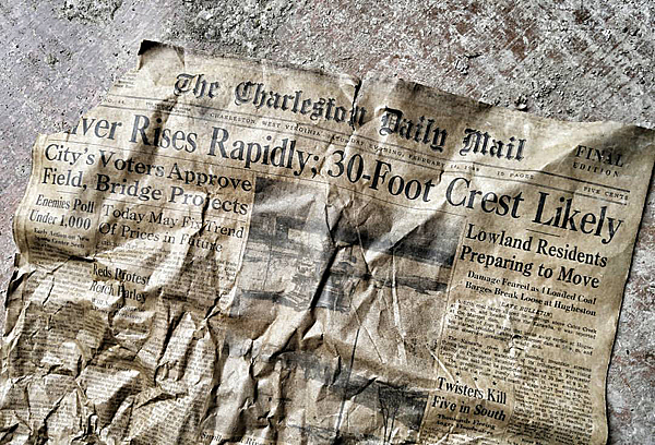 Newspaper headline about 1948 flood in same area